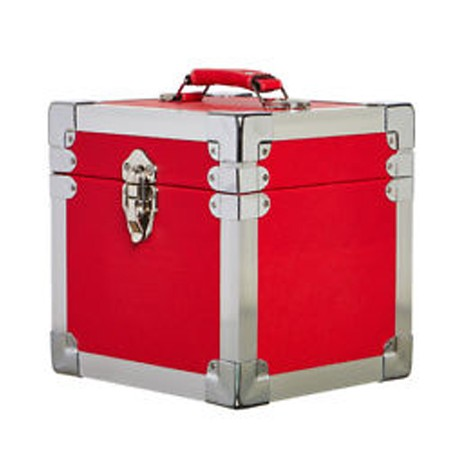 """BOX RECORD 7"""" STORAGE CARRY CASE RED"""