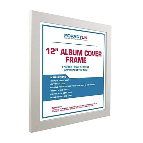 VINYLS- CADRE : Blanc - Album Cover Frame White Wood